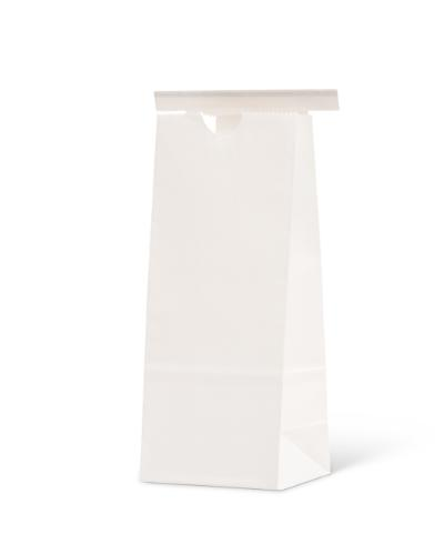 8 oz White Claycoat Paper Tin-Tie Bag w/Poly Liner