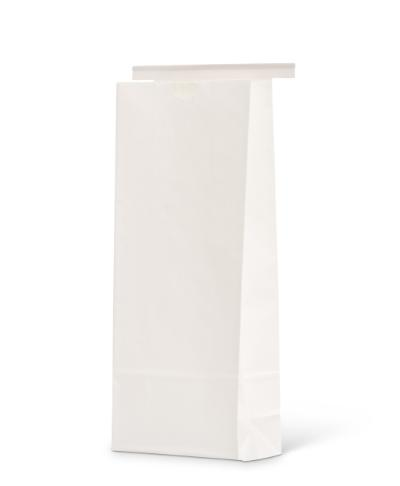 16 oz Wide White Claycoat Paper Tin-Tie Bag w/Poly Liner