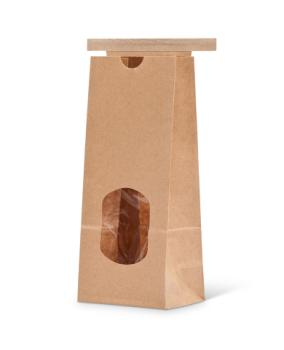 8 oz Natural Kraft Paper Tin-Tie Bag w/Window and Poly Liner