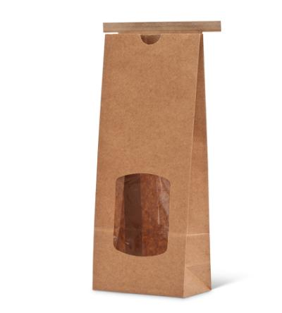 16 oz Wide Natural Kraft Paper Tin-Tie Bag w/Window and Poly Liner