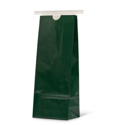 16 oz Wide Hunter Green Claycoat Paper Tin-Tie Bag w/Poly Liner
