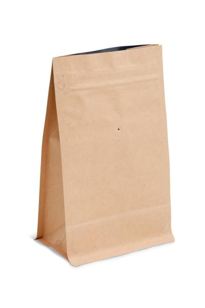12 oz Natural Kraft Block Bottom Bag w/ Pocket Zipper and Valve