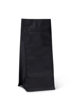 NEW! 8 oz Matte Black Poly Block Bottom Bag w/Pocket Zipper
