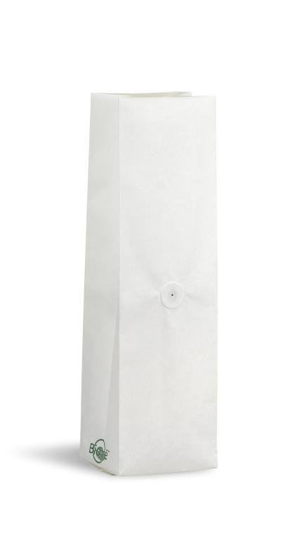 NEW! 12-16 oz Biotre White Kraft Side Gusseted Bag w/ Valve