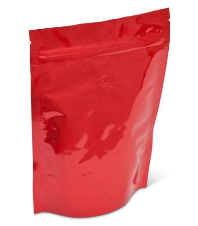 8 oz Bright Red Stand-Up Pouch w/ Zipper w/ Valve