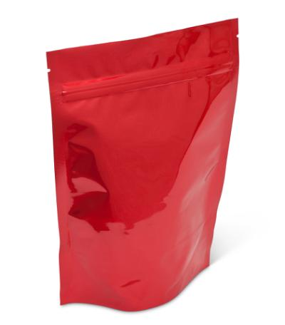 8 oz Bright Red Stand-Up Pouch w/ Zipper No Valve