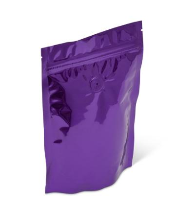 8 oz Purple Stand-Up Pouch w/Zipper & Valve