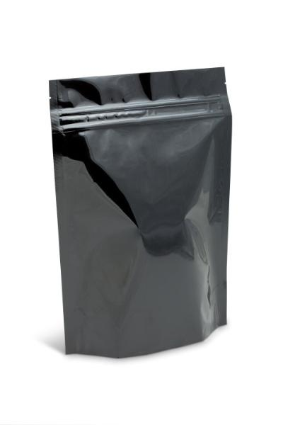 14-16 oz XL Black Stand-Up Pouch w/ Aplix Zipper