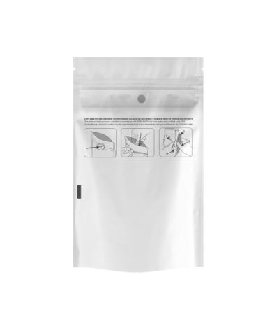 Eighth Child Resistant Clear/White Pouch