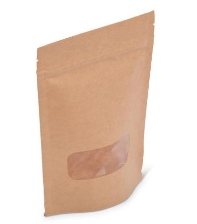 4 oz Natural Kraft Stand-Up Pouch w/ Zipper & Window