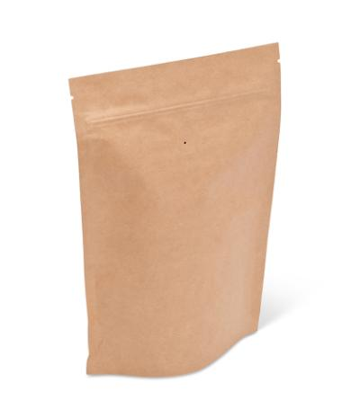 8 oz Natural Kraft Stand-Up Pouch w/ Valve and Zipper