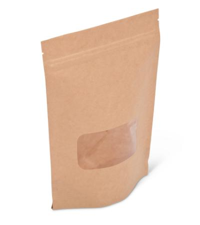 8 oz Natural Kraft Stand-Up Pouch w/ Zipper and Window