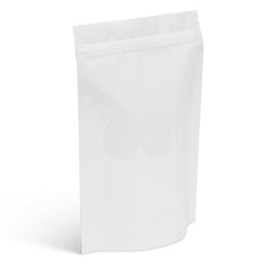 8 oz White Metallized Stand-Up Pouch w/Zipper