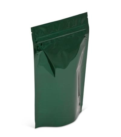 14-16 oz Green Metallized Stand-Up Pouch w/Zipper