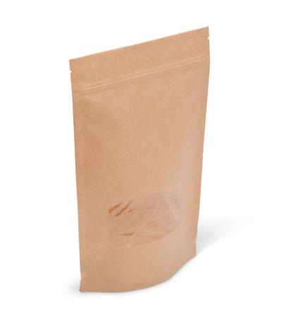 14-16 oz Natural Kraft Stand-Up Pouch w/ Zipper and Window
