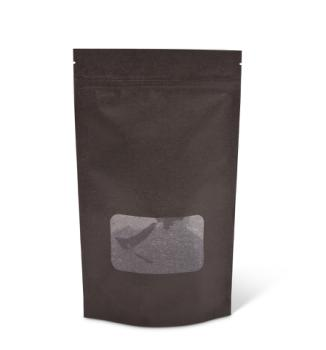 16 oz Black Rice Paper Stand-Up Pouch w/Zipper & Window