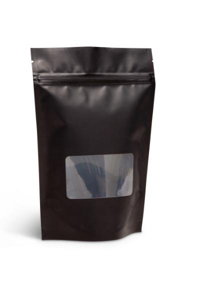 NEW! 8 oz Matte Black Stand-Up Pouch w/Window