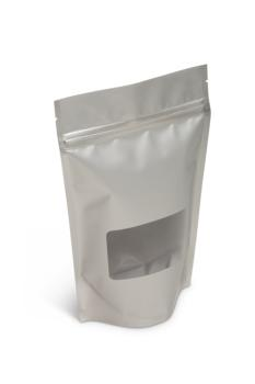 NEW! 8 oz Matte Silver Stand-Up Pouch w/Window
