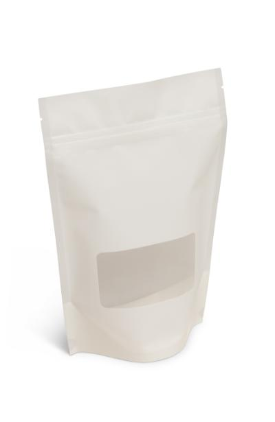 NEW! 8 oz Matte White Stand-Up Pouch w/Window