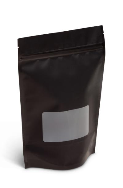 NEW! 16 oz Matte Black Stand-Up Pouch w/Window
