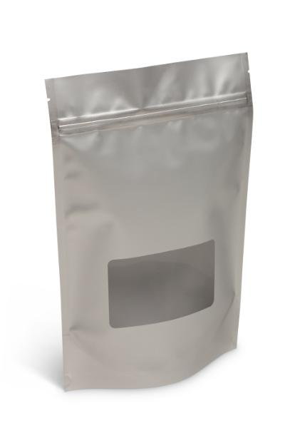 NEW! 16 oz Matte Silver Stand-Up Pouch w/Window
