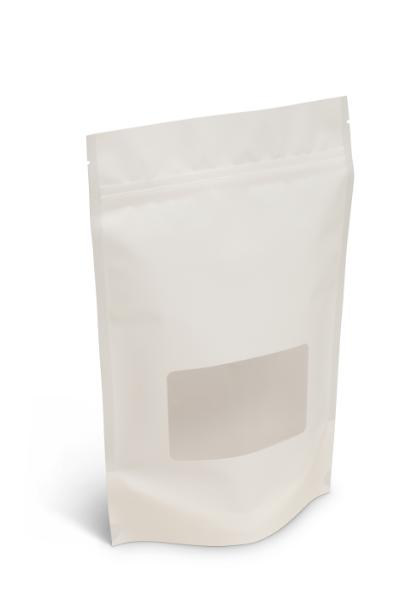 NEW! 16 oz Matte White Stand-Up Pouch w/Window
