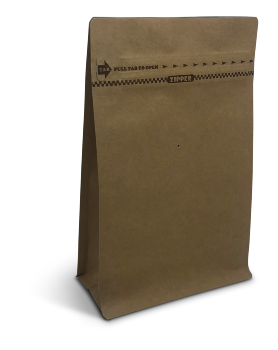 8 oz Natural Kraft Block Bottom Bag w/Pocket Zipper
