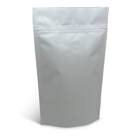 4 oz Matte White Stand-Up Pouch w/Valve