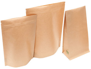 Brown Kraft Biotre Stand Up Pouches and Block Bottom Bags by PBi